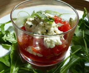 verrine tomate au miel et chèvre